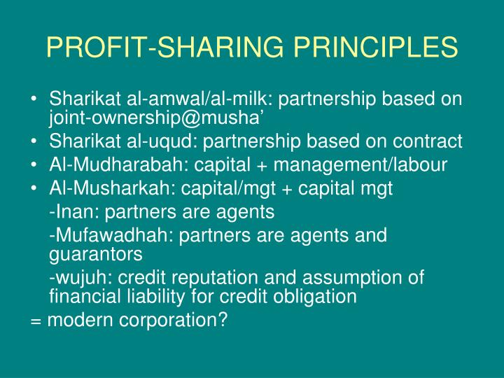 PROFIT-SHARING PRINCIPLES