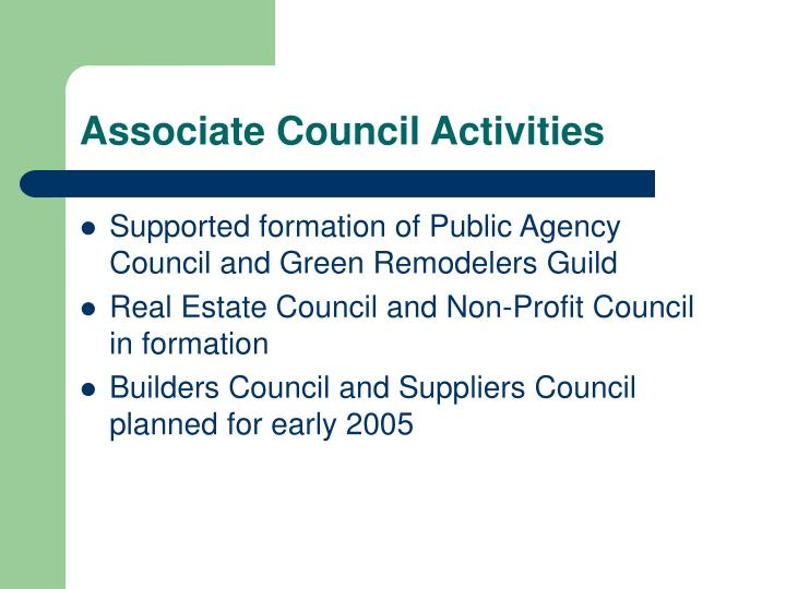 Associate Council Activities