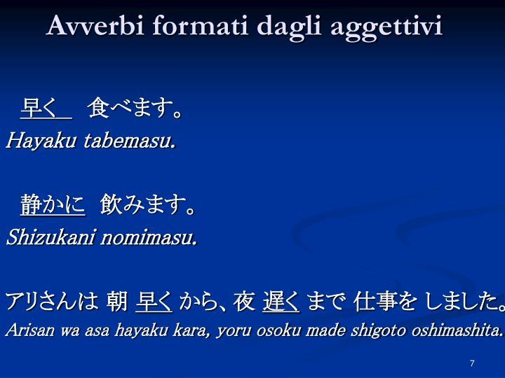 Avverbi formati dagli aggettivi