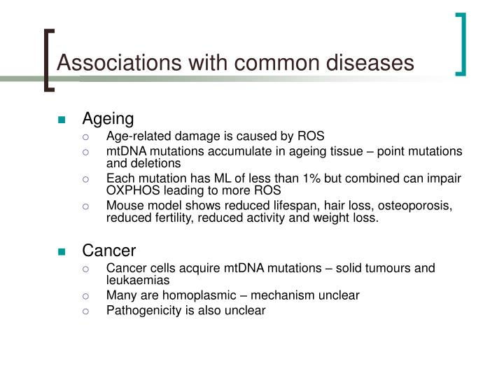 Associations with common diseases