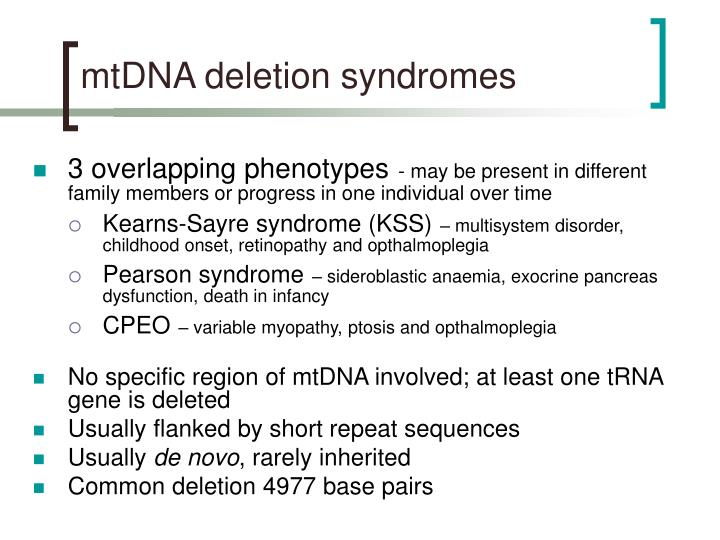 mtDNA deletion syndromes