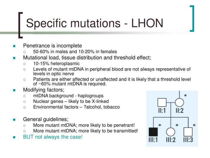 Specific mutations - LHON
