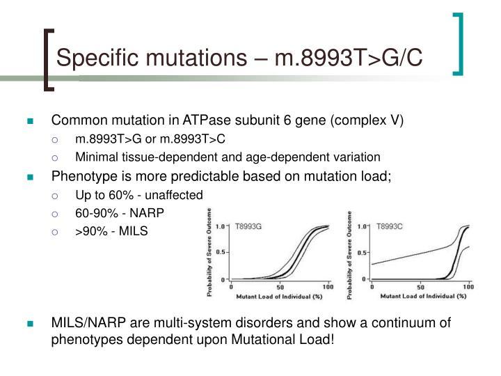 Specific mutations – m.8993T>G/C