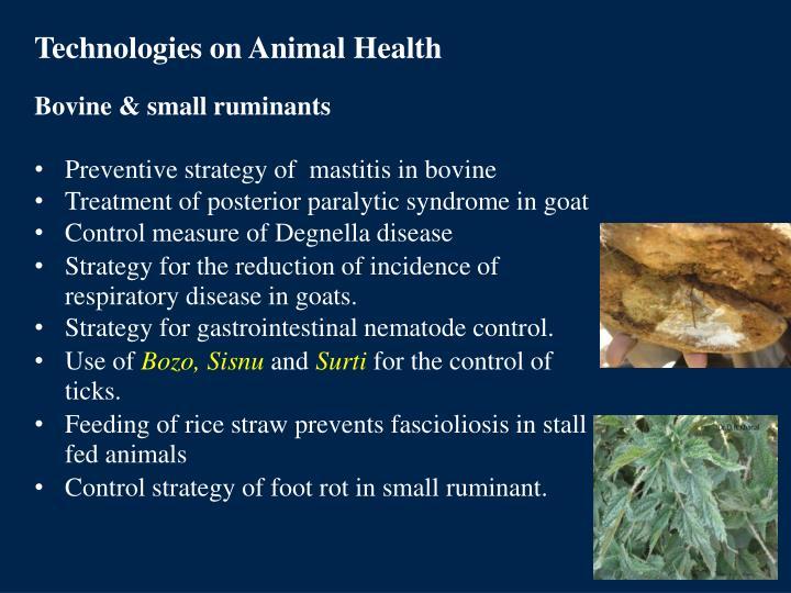 Technologies on Animal Health