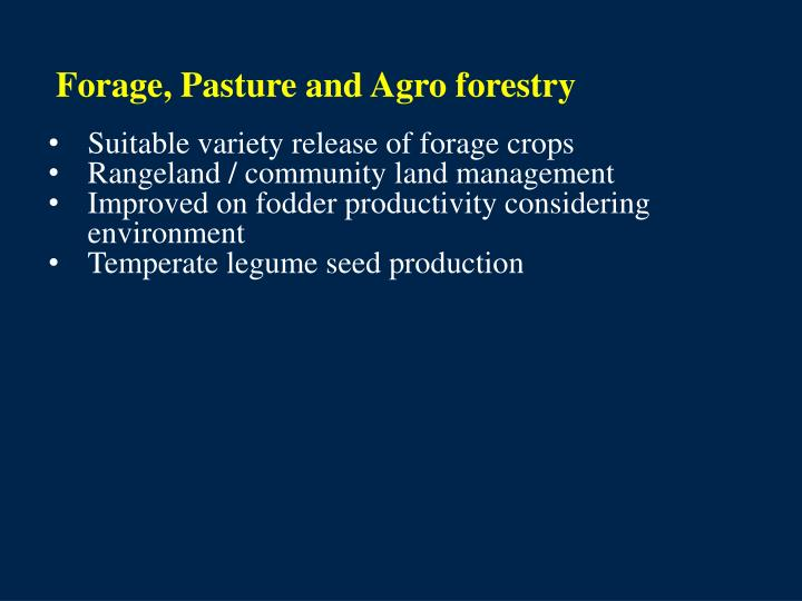 Forage, Pasture and Agro forestry