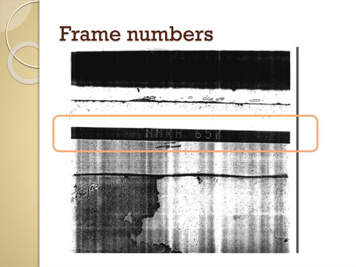 Frame numbers