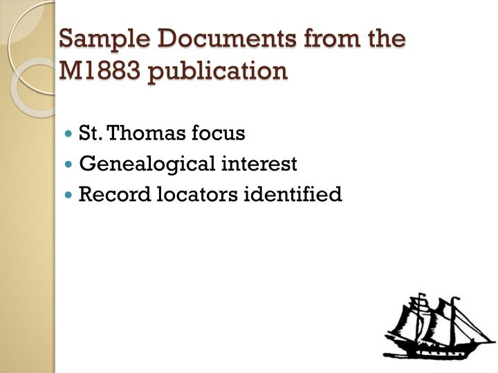 Sample Documents from the M1883 publication