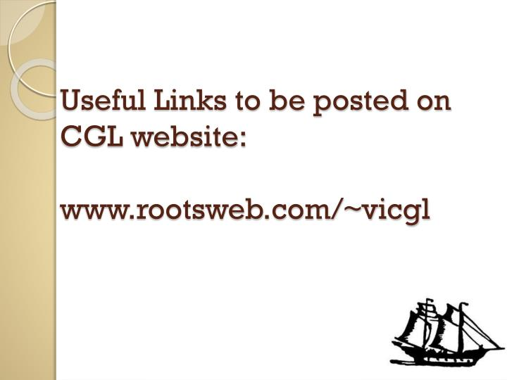Useful Links to be posted on CGL website: