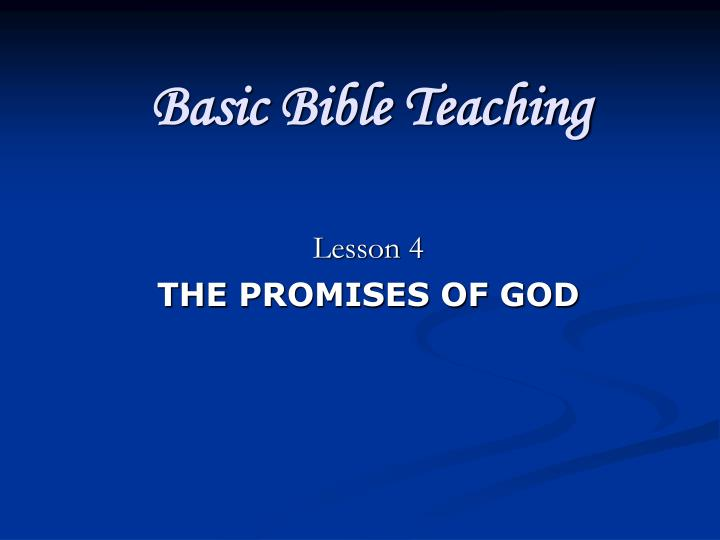 Basic Bible Teaching