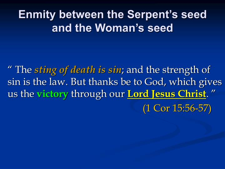 Enmity between the Serpents seed and the Womans seed