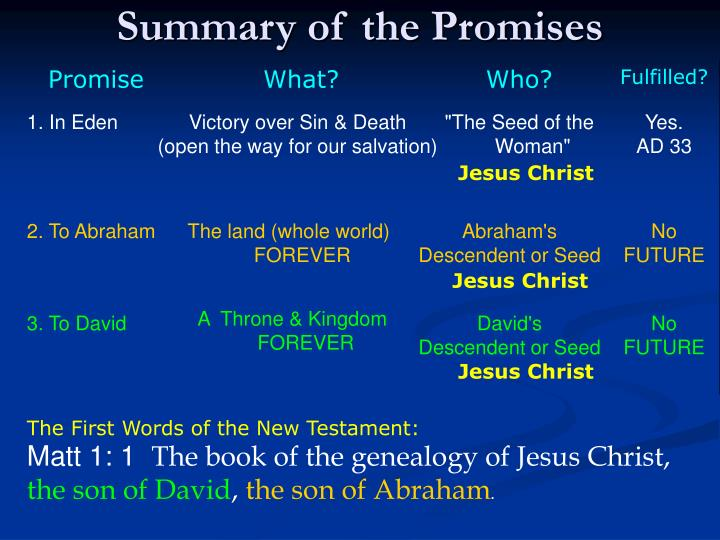 Summary of the Promises