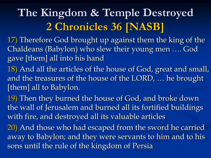 The Kingdom & Temple Destroyed