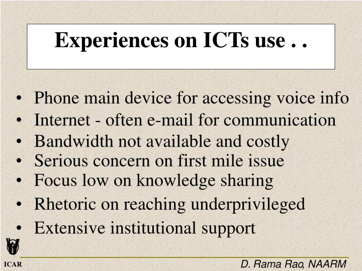 Experiences on ICTs use . .