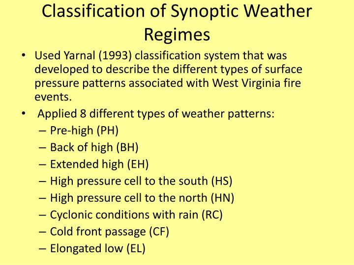 Classification of Synoptic Weather Regimes