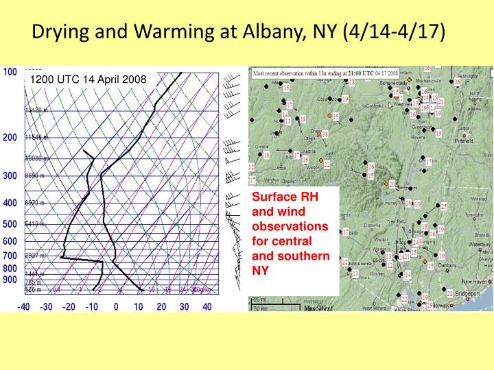 Drying and Warming at Albany, NY (4/14-4/17)