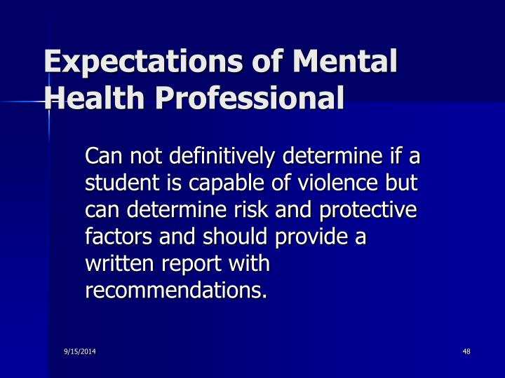 Expectations of Mental Health Professional