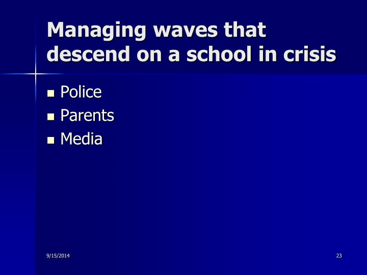 Managing waves that descend on a school in crisis