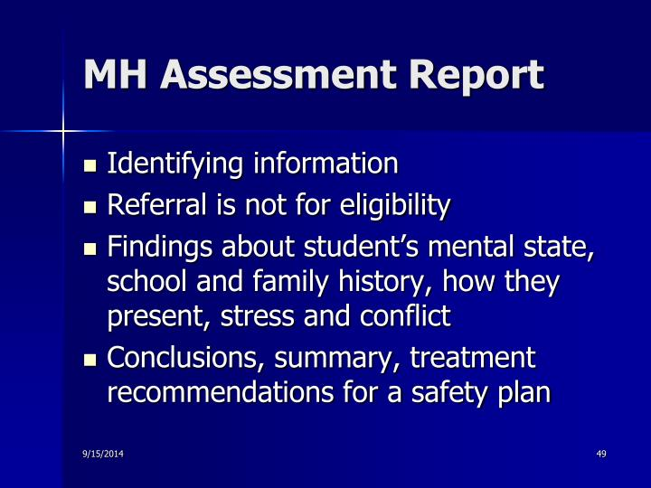 MH Assessment Report