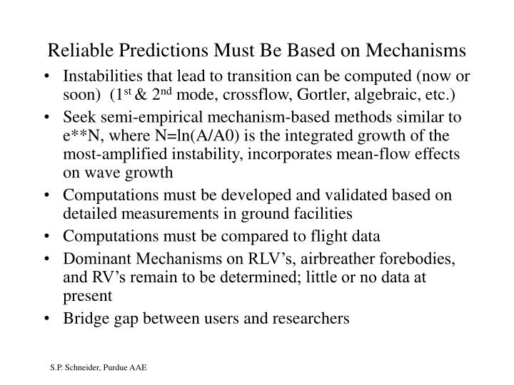 Reliable Predictions Must Be Based on Mechanisms