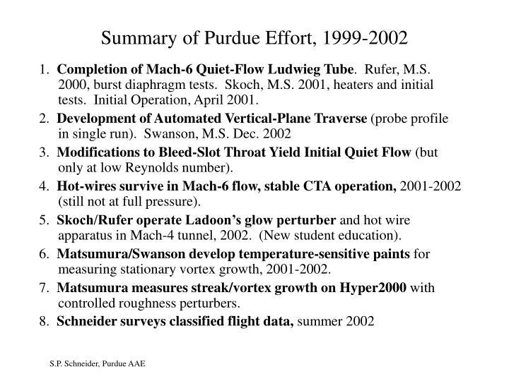 Summary of Purdue Effort, 1999-2002