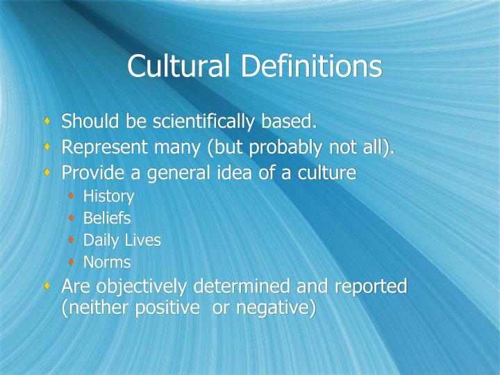 Cultural Definitions