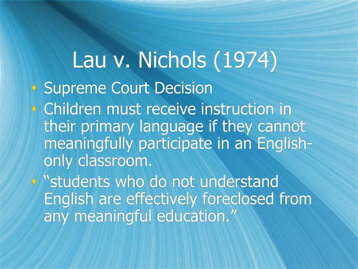 Lau v. Nichols (1974)