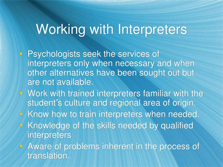 Working with Interpreters