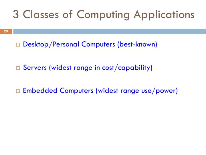 3 Classes of Computing Applications