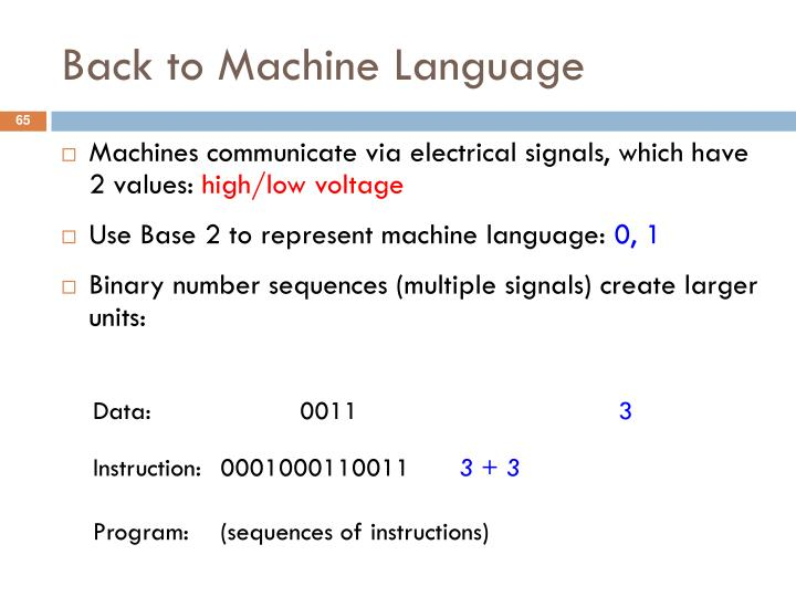Back to Machine Language