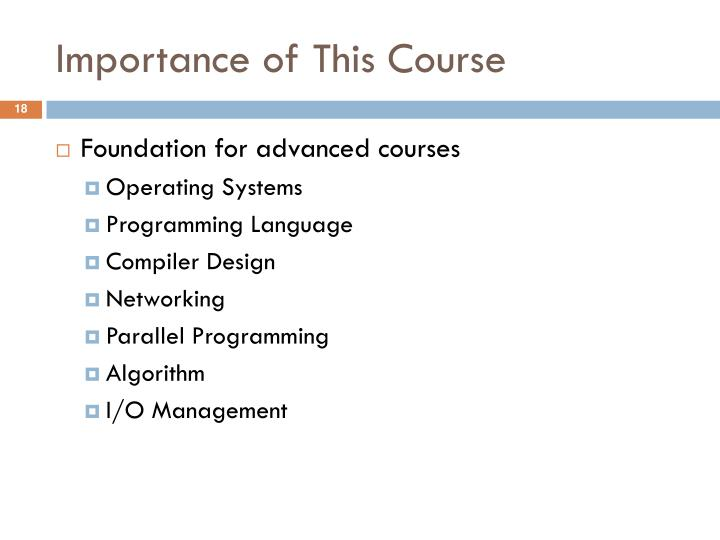Importance of This Course