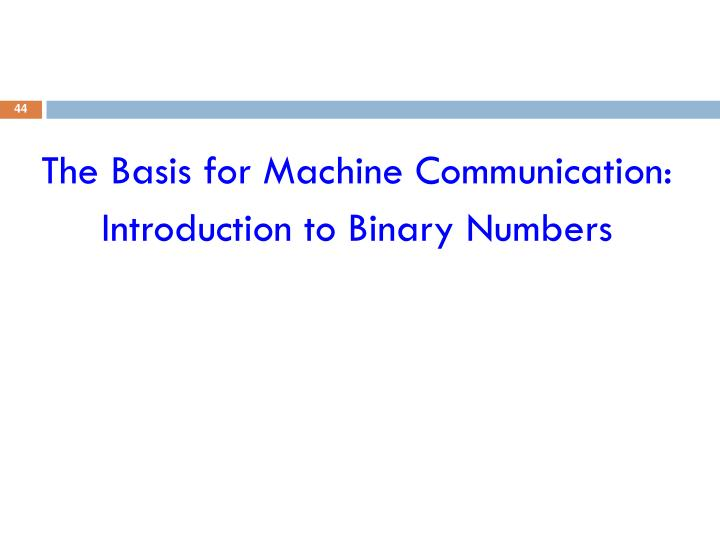 The Basis for Machine Communication: