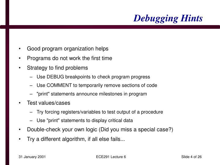 Debugging Hints