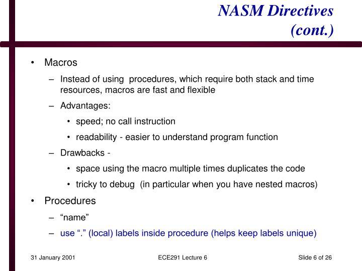 NASM Directives