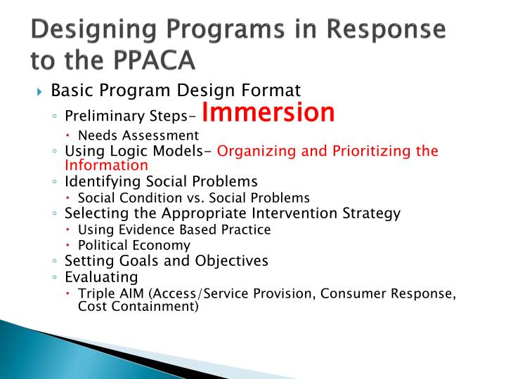 Designing Programs in Response to the PPACA
