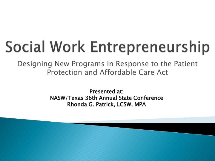 Social work entrepreneurship