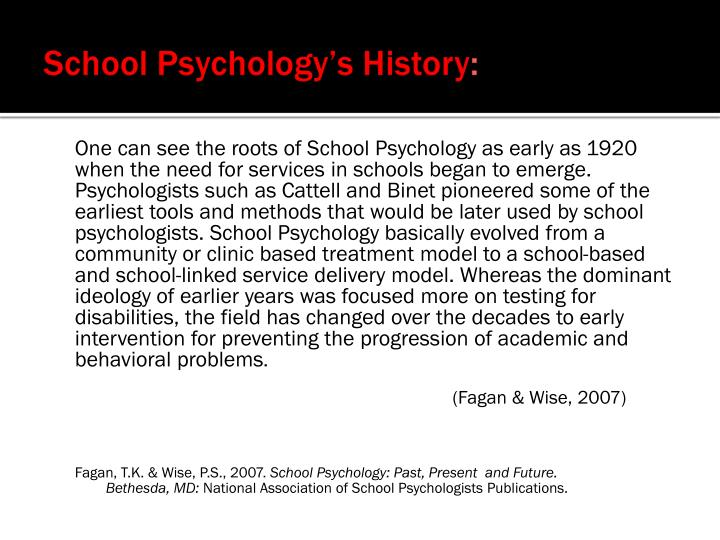 School Psychology's History