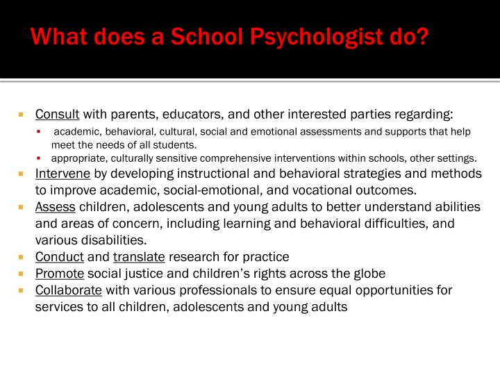What does a School Psychologist do?
