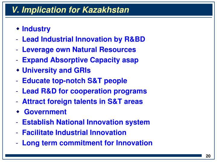 V. Implication for Kazakhstan