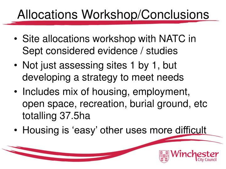Allocations Workshop/Conclusions