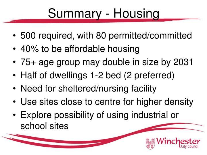 Summary - Housing