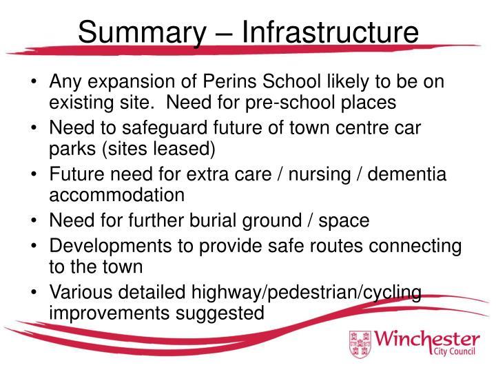Summary – Infrastructure