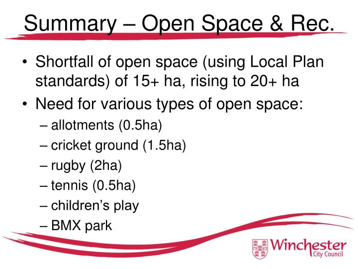 Summary – Open Space & Rec.