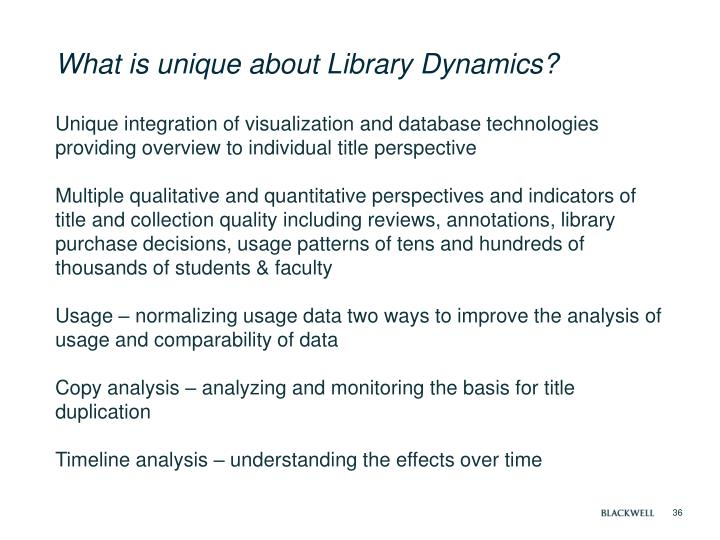 What is unique about Library Dynamics?
