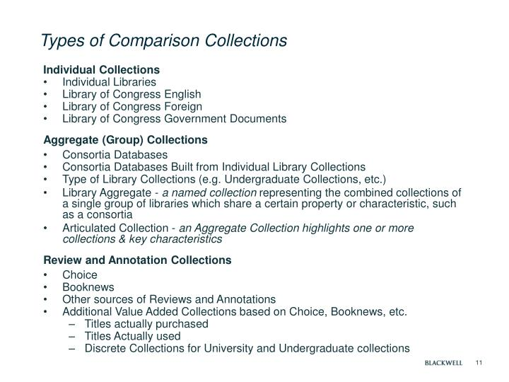 Types of Comparison Collections