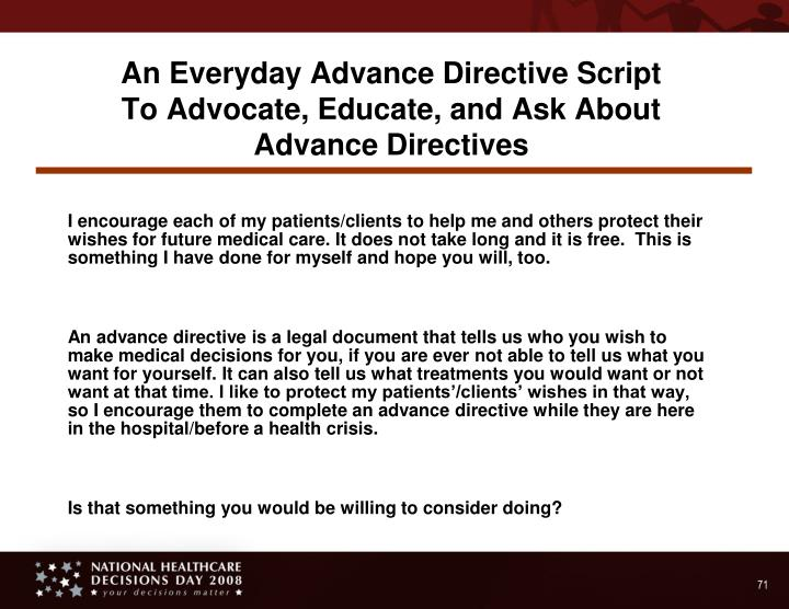 An Everyday Advance Directive Script