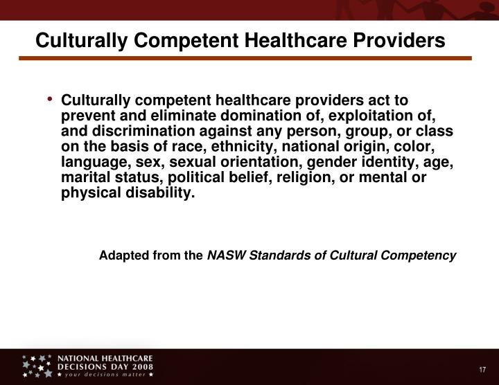 Culturally Competent Healthcare Providers