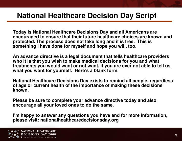 National Healthcare Decision Day Script