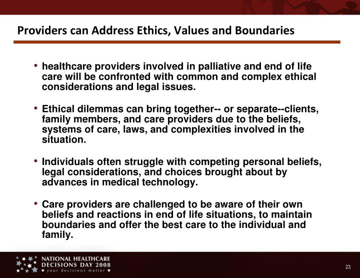 Providers can Address Ethics, Values and Boundaries