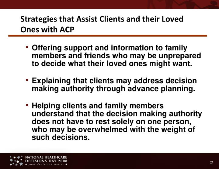 Strategies that Assist Clients and their Loved Ones with ACP