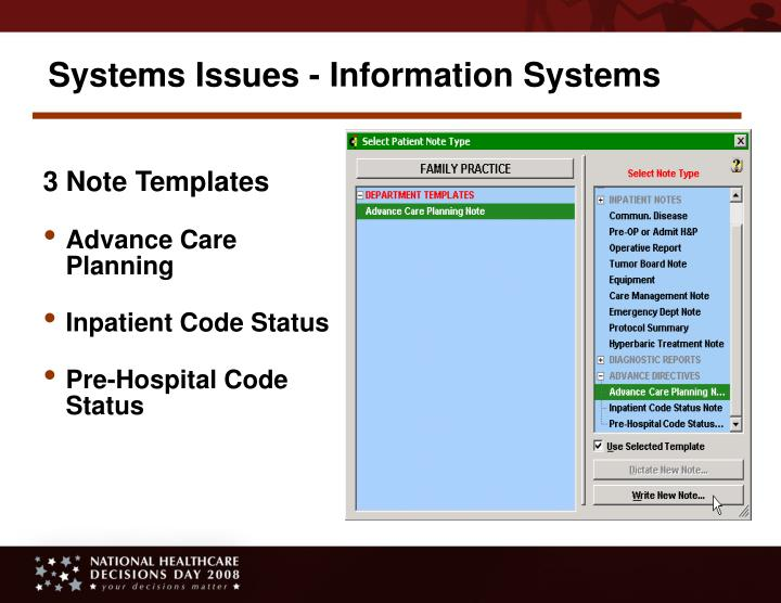 Systems Issues - Information Systems
